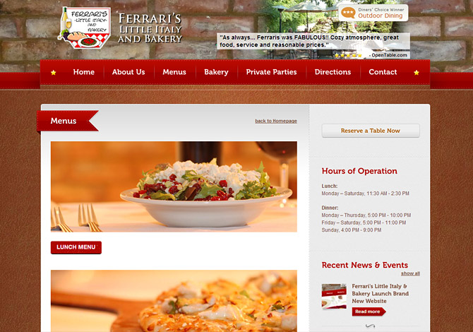 Ferrari s italian restaurant radiant web design for Cuisine site