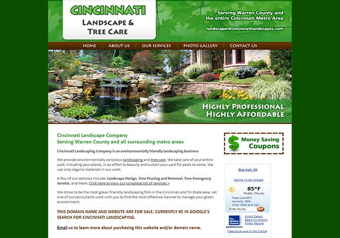 Cincinnati landscaping radiant web design wordpress for Landscaping companies