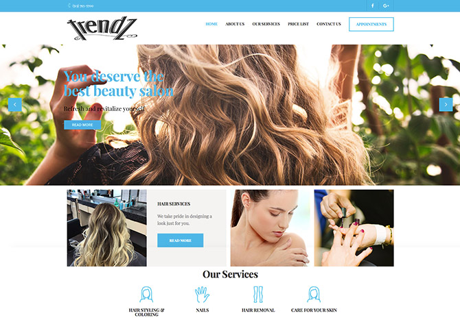 Trendz Salon Website